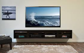 Modern Living Room Area with Large Flat TV Monitor Wall Mounted  Entertainment Center, Walnut Tv