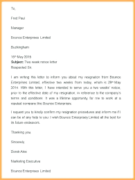 One Week Notice Resignation Letter Example Of Two Week Notice Resignation Letter Template 2