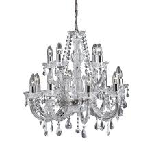 marie therese 12 light chrome chandelier clear crystal glass led candle e14