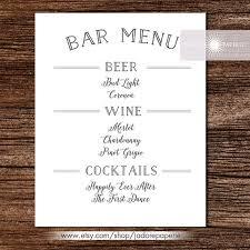 Bar Menu Liquor Menu Cocktail Menu Wedding Bar By Jadorepaperie My