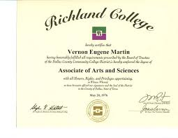 file vernon eugene martin s associate of arts and science degree file vernon eugene martin s associate of arts and science degree coursework from richland college dallas texas jpg