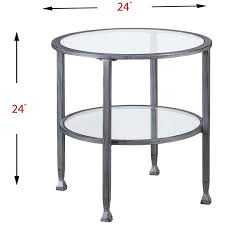 southern enterprises jaymes round glass top metal end table in silver