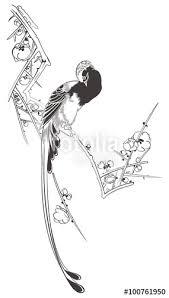 歌川広重 白梅に寿帯鳥のイメージイラストfotoliacom の ストック画像