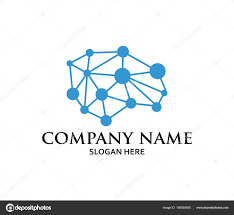 Matrix Logo Design Creative Brain Smart Matrix Neuron System Illustration