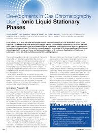 Pdf Developments In Gas Chromatography Using Ionic Liquid