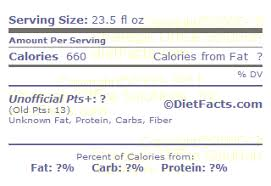 calories and nutrition facts label for drink four brewing co four loko fruit punch malt liquor drink fat carbohydrate protein fiber points