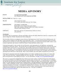 Media Advisory Sample Media Advisory Institute For Justice