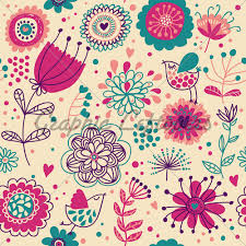 cute flower pattern wallpaper. Plain Wallpaper Cartoon Summer Floral Seamless Pattern With Cut And Cute Flower Wallpaper P