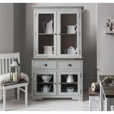 canterbury dresser cabinet with 2 drawer glass doors in silk grey and dark pine