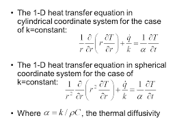 the 1 d heat transfer equation in cylindrical coordinate system for the case of k
