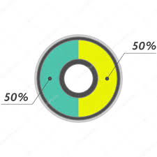 50 Percent Pie Chart 50 Percent Pie Chart Green And Yellow Infographics Stock