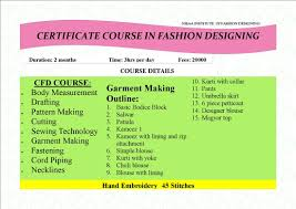 Fashion Designing Course Fees Details Two Month School Of Fashion Design Embroidery 9833881790