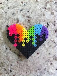 Cool Designs With Perler Beads Perler Beads Colorful Heart Diy Perler Beads Iron Beads