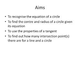 the equation of a circle 2 aims
