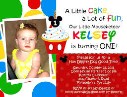 mickey mouse first birthday party invitations mickey mouse clubhouse birthday invitation wording ideas for s custom