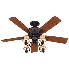 rustic ceiling fans lowes. Hunter Adirondack 52-in Brittany Bronze Indoor Downrod Or Close Mount Ceiling Fan With Light Rustic Fans Lowes U