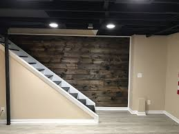 basement stairwell lighting. Wood Plank Wall Coming Down Basement Staircase 1x8x8ft Tongue And Awesome Lighting A Stairwell