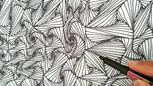 Pattern Drawing Adorable How To Draw Random Line Optical Illusions Patterns Zentangle