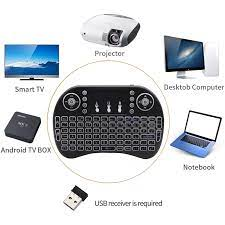 3 color Backlit i8 Mini Wireless Keyboard 2.4ghz English Air Mouse with  Touchpad for Laptop TV Android TV Box use AAA Battery|Keyboards