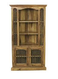 bali sheesham tall corner cabinet with shelves