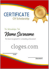 Scholarship Certificate Template For Word Red Certificate Of Scholarship Word Template
