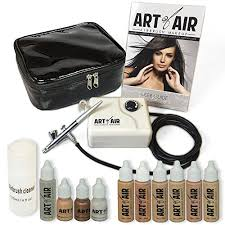 amazon art of air professional airbrush cosmetic makeup system fair to um shades 6pc foundation set with blush bronzer shimmer and primer makeup
