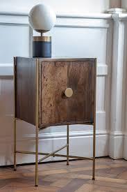 retro mango wood gold bedside table