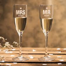 personalised mr mrs champagne flutes