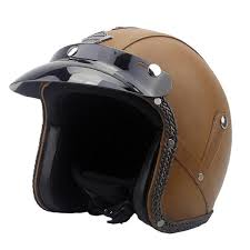 dot 3 4 face vintage leather motorcycle helmet motorbike scooter crash visor m l xl brown l cod