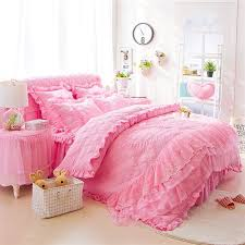 trendy hot pink victorian heart pattern ruffled lace design romantic cute girly full queen size bedding sets