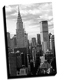 com black white new york city canvas wall art 24x36 stretched onto a 1 5 thick wood frame posters prints