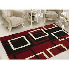 clifton collection modern boxes design dark red 8 ft x 10 ft area rug