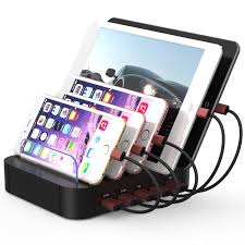 multi phone charging station. Charging Station 5 Ports Dock For Multiple Devices, Multi Usb Charger Cell Phone Docking Iphone, Ipad, Tablet E