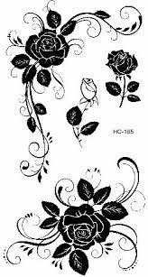 B Top Voděodolné Dočasné Tetování Motiv Růže černá Glamicz