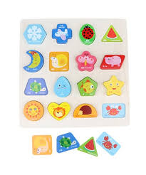 Homyl Fun Wooden Geometry Blocks Puzzle Board Baby Early Colors ...