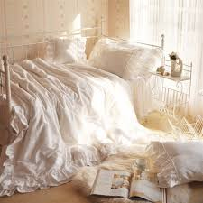best whole white lace curtain finished s wave head faux silk cotton lace duvet cover super king size white