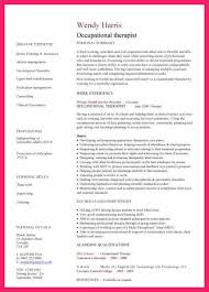 Occupational Therapy Resume Bio Letter Format