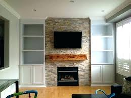 electric fireplace built in wall shelves around