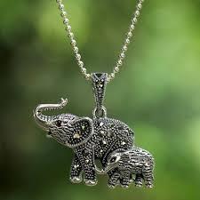 garnet and marcasite elephant pendant necklace from thailand glistening elephants
