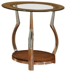 homelegance wells round glass end table with chrome legs traditional side tables and end tables by beyond s