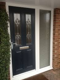 front door with side windows. Blue Composite Door And Side Panel Front With Windows O