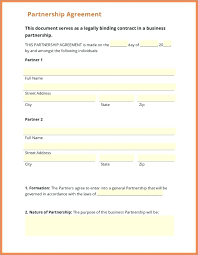 Partnership Agreement Contract Form Template Sample Business ...
