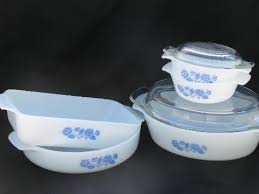 Fire King Patterns Delectable Vintage FireKing Glass Ovenware Blue Flower Cornflower Pattern Set