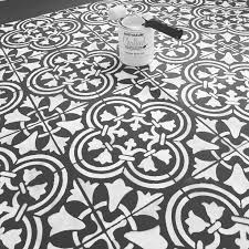painted and stenciled floor diy augusta tile stencil anna anne shabbyandsewmuchmor stenciledfloors black white floor stencils d68 stencils