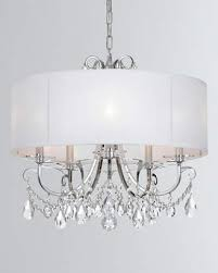 at horchow othello 5 light clear crystal polished chrome chandelier with drum shade