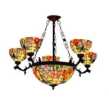 antique dragonfly shaped 7 light stained glass chandelier