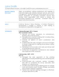 Training Specialist Resume Catering Resume