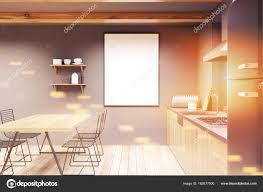 Grau Und Holz Esszimmer Plakat Getönt Stockfoto