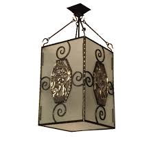 french art deco nickel bronze and iron lantern chandelier