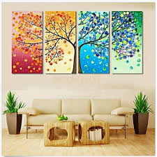 clearance 4pcs colorful season tree canvas print wall art painting picture home hall decor unframed